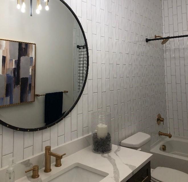 tile on bathroom wall