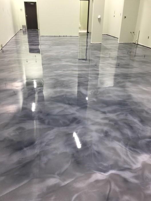 metallic finish floor