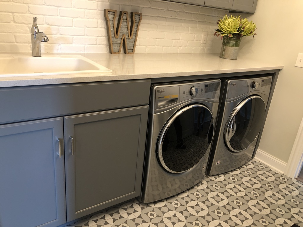 patterned tile in laundry room