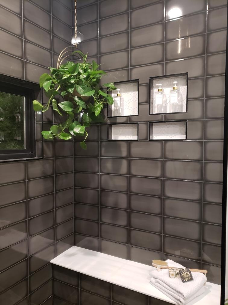 glossy black tile in shower