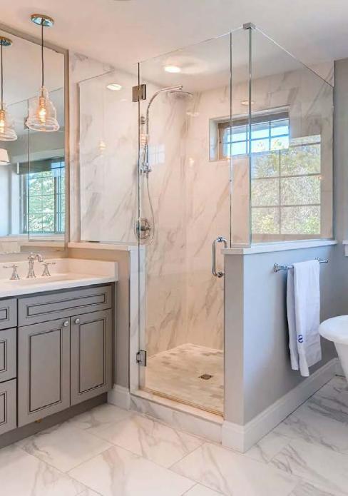 marble tile in updated bathroom