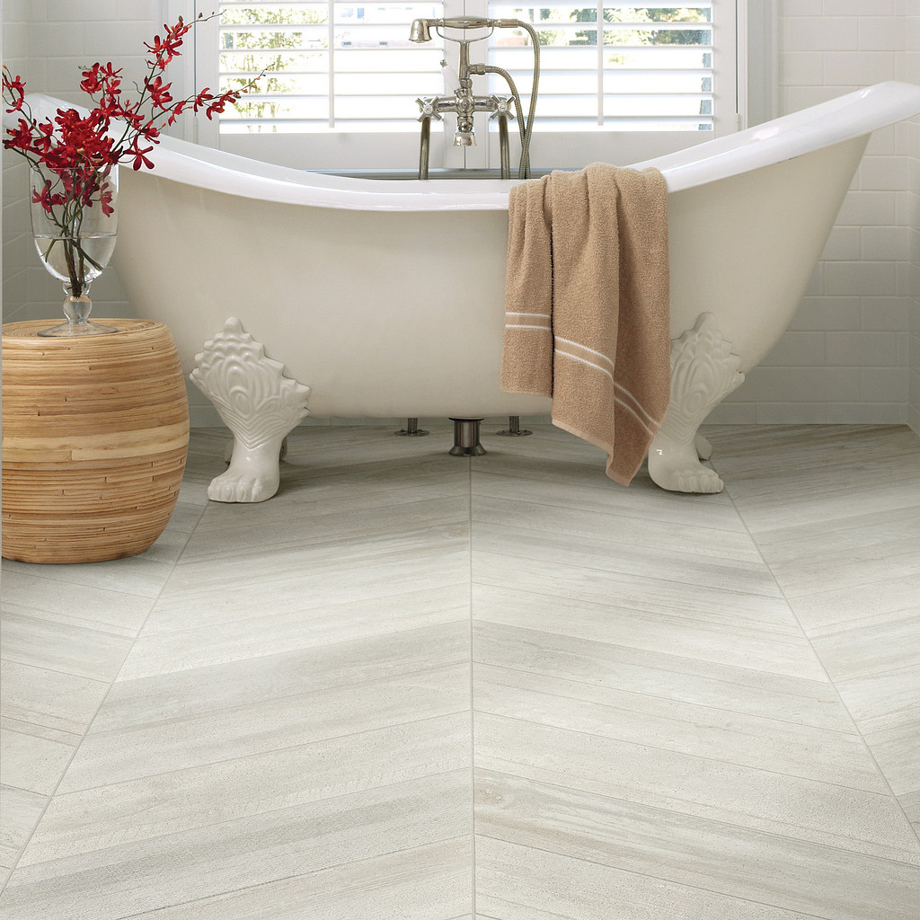 chevron tile in bathroom